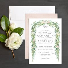 Romantic Garland Wedding Invitations by Jennie | Elli