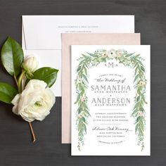 Romantic Garland Wedding Invitations by Jennie   Elli