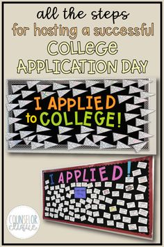 """Read how to plan a successful """"College Application Day"""" for your high school seniors. With tips, ideas, and practical step-by-step, try hosting your own """"Colllege Application Day"""" event at your high school! School Counselor Organization, School Counselor Office, School Guidance Counselor, High School Counseling, Counseling Office, College Signing Day, College Advisor, College Application, 6 Years"""