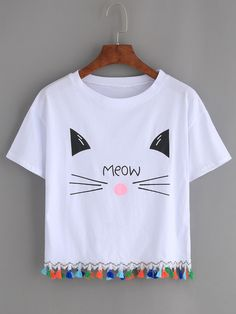 White Cat Print Tassel Trim T-shirt