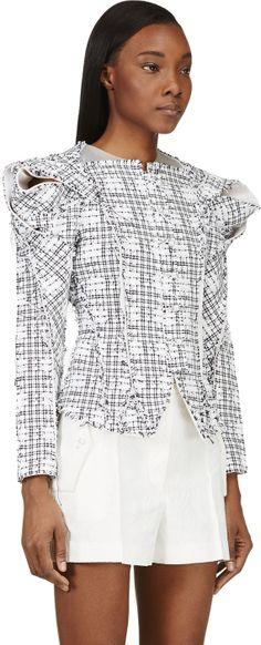 Thom Browne: White & Black Draped Shoulder Plastic Insert Tweed Jacket