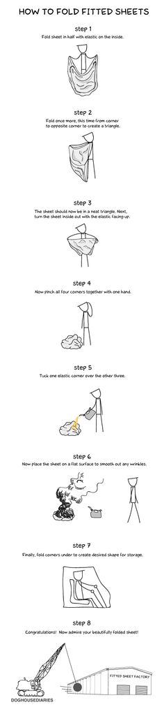 Instructions For Folding a Fitted Sheet...this is so me, no matter how many times I try....