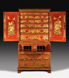 George II scarlet japanned and gilt secretaire cabinet
