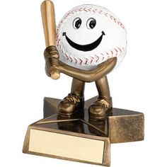 Who's a happy baseball trophy? You are! Yes, you are! Featuring 40 letters of free trophy personalization, this trophy is an unbeatable value ($0.10 per additional character)!