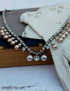 Vintage Rhinestone and Glass Pearl One of a Kind by simplymeart, $60.00