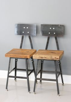 Set of 2 Reclaimed Wood Industrial Stools