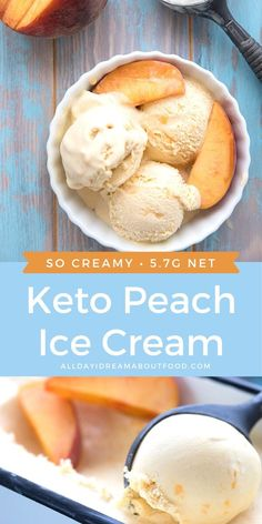 Can something made with peaches possibly be keto friendly? You bet and this homemade peach ice cream proves it. Its sweet and creamy and the perfect dessert on a hot summer night. Low Carb Desserts, Frozen Desserts, Low Carb Recipes, Dessert Recipes, Healthy Recipes, Frozen Treats, Cooking Recipes, Peach Ice Cream Recipe, Homemade Ice Cream