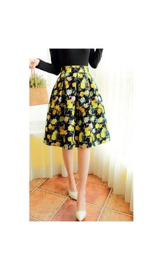 Betsy:  womens high waist fit and flare A-line vintage style skirt with floral print available in M-XL #modestymovement #modestclothing