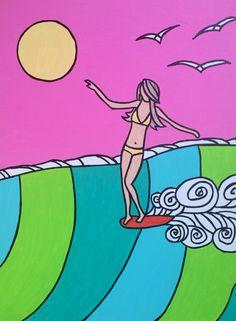www.etsy.com/shop/stellasurfart Summer Painting, Painting Of Girl, Key West Style, Surfboard Art, Wave Art, Sea Art, Summer Art, Art Tutorials, Windsurfing