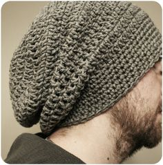 Crochet Patterns Men free crochet slouchy beanie patterns for men – Yahoo Image Search Results Crochet Slouchy Beanie Pattern, Mens Crochet Beanie, Crochet Men, Crochet Hats, Free Crochet, Slouchy Hat, Men's Beanies, Mens Beanie Hats, Hat Men