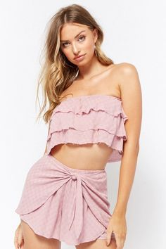 Product Name:Checkered Linen-Blend Crop Top & Short Set, Category:CLEARANCE_ZERO, Price:48