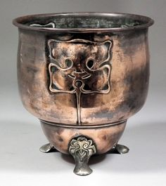 Arts and Crafts Archilbald Knox style copper urn; craftsman style, bungalow