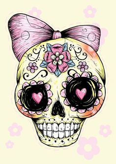 Sugar Skull (Yellow) Art Print by Ella Mobbs - X-Small Sugar Skull Tattoos, Sugar Skull Art, Sugar Skulls, Sugar Skull Design, Sugar Skull Images, Girly Skull Tattoos, Sugar Art, Future Tattoos, Love Tattoos