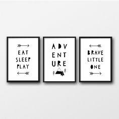 Adventure Nursery, Black and White Kids Room, Monochrome Nursery Prints, Set of 3 Unframed Prints, Brave Little One by violetandalfie on Etsy