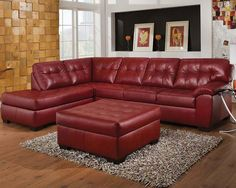 Minimalist Living Room with Cool Red Leather Sectional Sofa Red Leather Sectional, Sectional Sofa With Chaise, Sofa Couch, Sofa Set, Couches, Black Sectional, Acme Furniture, Leather Furniture, Ottoman Furniture