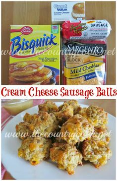 The Country Cook: Cream Cheese Sausage Balls {the cream cheese makes ALL the difference in these!} (I make these all the time but have never put cream cheese in them! Appetizer Recipes, Snack Recipes, Cooking Recipes, Super Bowl Essen, Bisquick Recipes, Sausage Balls, Cheese Sausage, Sausage Biscuits, Sausage Dip
