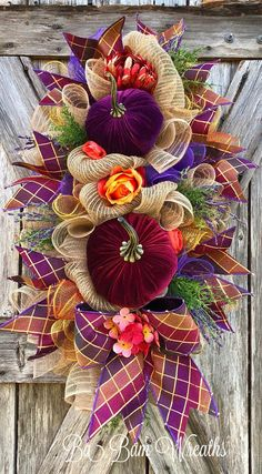 BaBamWreaths on Etsy Summer Door Wreaths, Diy Fall Wreath, Autumn Wreaths, Holiday Wreaths, Wreath Ideas, Holiday Decor, Fall Deco Mesh, Deco Mesh Wreaths, Fall Swags
