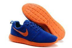 chaussures nike roshe run anti-fur homme (bleu/orange/orange logo) pas cher en ligne en france.