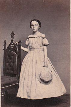 1860s girl yoked dress