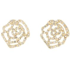 Charlotte Russe Rhinestone Flower Filigree Stud Earrings ($6) ❤ liked on Polyvore featuring jewelry, earrings, accessories, stud earrings, gold, rhinestone jewelry, snap jewelry, flower stud earrings and rose jewellery