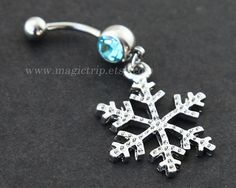 silver snowflake Belly Button Rings, snow belly button ring, nautical jewelry, winter Christmas snow belly button ring on Etsy, $4.99