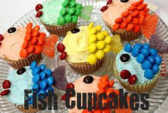 Fish cupcakes decorated with m candies and fruit jellies.  Blueberries for the eyes.  Use any cake mix and any white colored frosting.  4 portions of frosting.  Each portion blended with your choice food coloring.  Yeah, fishy!