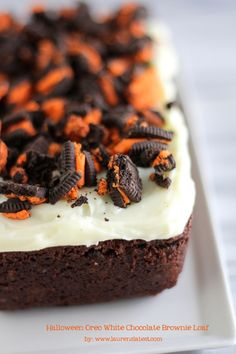 Halloween Oreo White Chocolate Brownie Loaf.....dreamy dessert right here!!