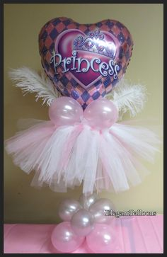 Princess/tutu balloon centerpiece by Anne McGovern, CBA, of Elegant Balloons in Pearl River, NY, USA