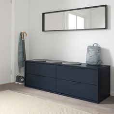 IKEA - NORDMELA, dresser, black-blue, You can also use this chest of drawers as a bench since the construction is both stable and sturdy. Smooth running drawers with pull-out stop. Ikea Drawers, Ikea Dresser, Dresser Drawers, Storage Drawers, Black Chest Of Drawers, Storage Benches, Shoe Storage, Ikea Inspiration, Design Simples
