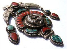 Elegant orient tibetischer Silber amuletten anhänger tibetan amulet pendant Nr18