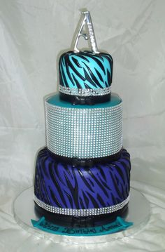 Bling! 3-Tier bling cake for Amore'! Happy Birthday!  Prices for this cake are on the website. http://creativecakesbykeekee.com/