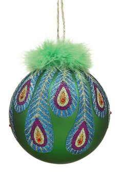 Round Peacock Ornaments with Feathers - Set of 4