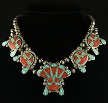 Squash Blossom Choker withTurquoise & Coral Inlay .... me want bad!