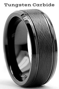 WEDDING BAND-->>8mm Black Tungsten Carbide Wedding Ring With Two Outside Grooves