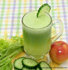 Cool Cucumber juice with apple, ginger, celery and lemon is beauty tonic in a glass. Tap into the power of Cucumber juice for great for skin & hair! I recently started juicing aga...