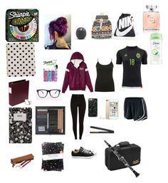 """What I wear to school 💁🏻"" by ccrodriguez17 ❤ liked on Polyvore featuring Converse, M&Co, GHD, Jean-Paul Gaultier, Design Letters, Nikki Strange, Kate Spade, Sharpie, Fantasia and Eos"