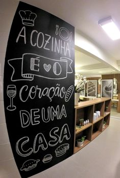 Lousa | Blog Primeiro Rabisco                                                                                                                                                                                 Mais Condo Design, House Design, Interior Design, Chalkboard Lettering, Welcome To My House, Coffee Shop Design, Decoration Inspiration, Posca, Little Houses