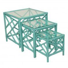 Chippendale Nesting Tables - Rattan - Sea Glass | David Francis L2907-NT