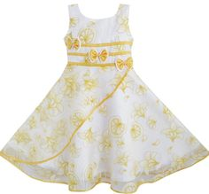 Girls Dress 3 Bow Tie Yellow Flower Pageant Wedding Kids Boutique Size 4-12 New #SunnyFashion #Party