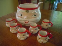 Vintage 1960 Santa Punch Bowl With Ladle And 6 Santa Cups Kerst