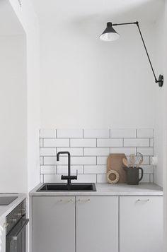 Grey kitchen black tap white tiles  Kitchen inspiration scandinavian style decor interior design  Grått kök svart blandare vitt kakel sinnerlig ikea