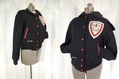 1970s Coat// Varsity Jacket// Black Letter Jacket// High School Letterman Coat// Crop Coat// Wool Hoodie Coat// Bomber Jacket/ Medium 1979 by RockabillyRavenVtg on Etsy