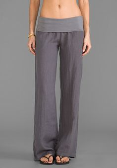 SO LOW Foldover Wide Leg Pant in Gunmetal - Wide Leg