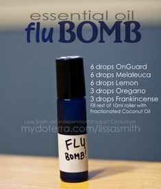 doTERRA Essential Oils: Flu Bomb roller recipe. This REALLY works!!! These oils can be purchased at www.mydoterra.com/kellyjanice