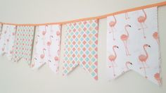 Metallic Gold and Pink Flamingo Birthday Party Bunting- First Birthday Flamingo Print Garland- Baby shower decor- Double Sided #293 OR 294 by ClamsAndaHamDog on Etsy