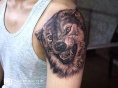 wolf tattoo Realistic tattoo Arm tattoo  man tattoo