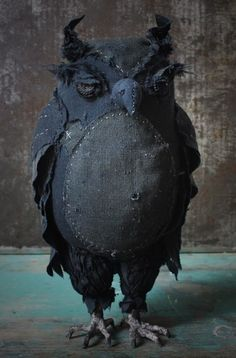 Owl - 'Chillingworth'  by Ann Wood  Re-purposed vintage clothing, antique buttons, paper mache.