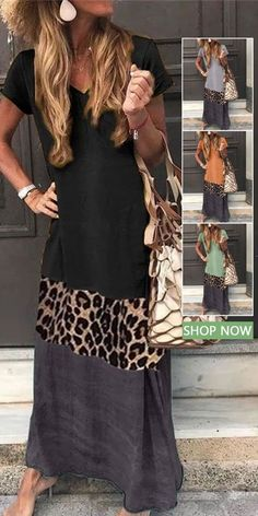 V Neck Short Sleeve Ankle-Length Leopard Print Color Matching Casual Dress Source by rgmtrading Dresses Preppy Dresses, Casual Dresses, Summer Dresses, Elegant Dresses, Sexy Dresses, Formal Dresses, Summer Fashion Outfits, Trendy Fashion, Dress Fashion