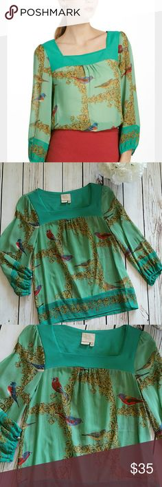 """Anthropoligie warbler silk peasant top size 6 Vanessa virginia lovely warbler birds silk peasant blouse.  Size 6. Boho ultra femme blouse. Pullover styling. Dry clean/hand wash. Gently worn. No stains rips or tears. Smoke free pet free home. Measured flat.   Pit to pit 16.5"""" Sleeve 18.5"""" Top to bottom 22.5"""" Anthropologie Tops Blouses"""