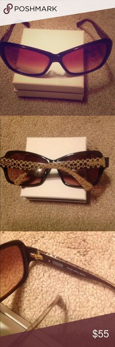 Coach Sandra brown logo sunglasses Good used condition! Light signs of wear no visible scratches I can see. Still lots of use left Coach Accessories Sunglasses